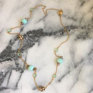 J. Crew Long Turquoise Bead Necklace